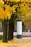 Espace publicitaire vide sous les arbres en automne Images stock