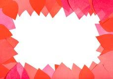 Espace vide encadrant par les coeurs de papier rouges et roses Photos stock