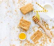 Espace vide fait maison de vue supérieure de gâteau de miel Photo libre de droits