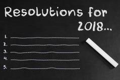 Espace vide pour cinq résolutions en 2018 Photographie stock