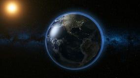 Espace a vista na terra do planeta e o Sun no universo Imagens de Stock