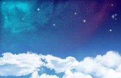Espacez avec le fond de nuages Photographie stock libre de droits