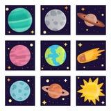 Espacez illustration de vecteur de nature d'exploration de système solaire de planètes d'atterrissage la future illustration stock