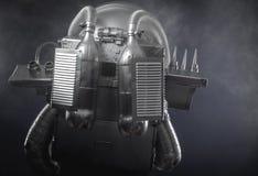 Espacez l'homme, l'astronaute habillé en argent ou le costume d'espace métallisé Photos stock