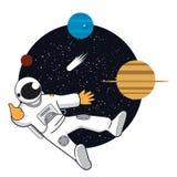 Espacez la bannière avec l'astonaut, Neptune, Saturn, Uranus Photo libre de droits