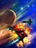 Espacez la bataille autour d'une planète étrangère, l'illustration 3d Photos stock