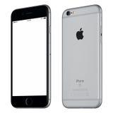 Espacez la maquette de l'iPhone 6S de Gray Apple légèrement dans le sens des aiguilles d'une montre tournée Photographie stock libre de droits