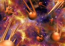 Espacez la scène avec les planètes 3D/l'illustration vaisseaux spatiaux Photos libres de droits