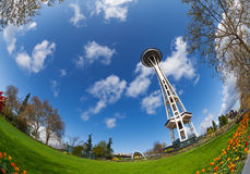 Espacez la vue de fisheye de tour d'aiguille à Seattle, Etats-Unis Images stock