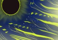 Espacez le fond avec une éclipse solaire et une foudre fantastiques Photos stock