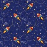 Espacez le modèle sans couture avec le vaisseau spatial, les planètes et les étoiles de jouet Images stock