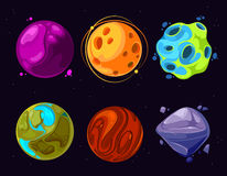 Espacez les planètes, asteroïde, lune, icônes fantastiques de bande dessinée de vecteur de jeu du monde Images libres de droits