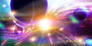 Espacie el fondo con los planetas, el stardust y los meteoritos Foto de archivo libre de regalías
