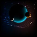 Espacie el fondo con 3 planetas y espacíelo para el texto Imágenes de archivo libres de regalías