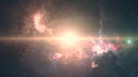 Espacie el fondo, el resplandor, la niebla, y las estrellas coloreadas imagen de archivo libre de regalías