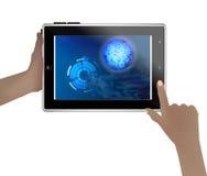 Espacie el papel pintado en una tableta en manos humanas stock de ilustración