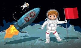 Espacie el tema con los astronautas que trabajan en la luna Imágenes de archivo libres de regalías