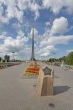 Espacie el valle (callejón de astronautas) y espacie el monumento cerca de VVC, Moscú de Subjugators Imagenes de archivo