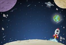 Espacie la galaxia con la luna, la tierra, planetas y estrellas stock de ilustración