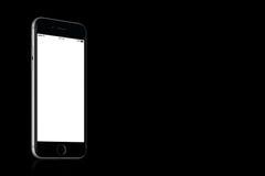 Espacie la maqueta del iPhone 7 de Gray Apple en fondo negro sólido con el espacio de la copia Fotos de archivo libres de regalías