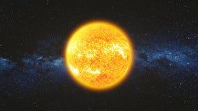 Espacie la opinión sobre superficie brillante del sol con las llamaradas solares ilustración del vector