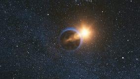 Espacie la opinión sobre la tierra del planeta y Sun en universo imagen de archivo libre de regalías