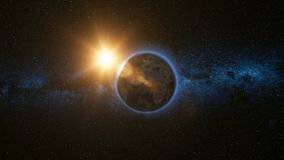 Espacie la opinión sobre la tierra del planeta y Sun en universo fotos de archivo libres de regalías