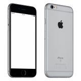 Espacie la vista delantera levemente girada de la maqueta del iPhone 6S de Gray Apple Imágenes de archivo libres de regalías