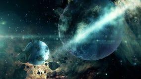 Espacie los planetas, las estrellas y la animación 4K de la galaxia libre illustration
