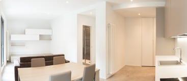 Espacio abierto con la cocina y la sala de estar elegantes imagen de archivo