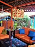 Espacio azul y anaranjado del patio Imagen de archivo libre de regalías