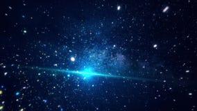 Espacio cósmico abstracto con las estrellas brillantes animación Mudanza entre las estrellas chispeantes brillantes en espacio ex almacen de metraje de vídeo