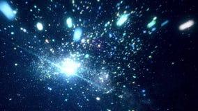 Espacio cósmico abstracto con las estrellas brillantes animación Mudanza entre las estrellas chispeantes brillantes en espacio ex almacen de video