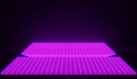 Espacio cibernético rosado que brilla intensamente del neón en fondo retro del estilo Versión rosada brillante foto de archivo