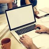 Espacio Co de la copia de Creative Occupation Laptop del arquitecto del estudio del diseño Fotografía de archivo libre de regalías
