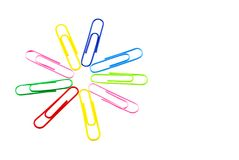 Espacio coloreado de la copia del diseño de Papercliip Fotografía de archivo libre de regalías