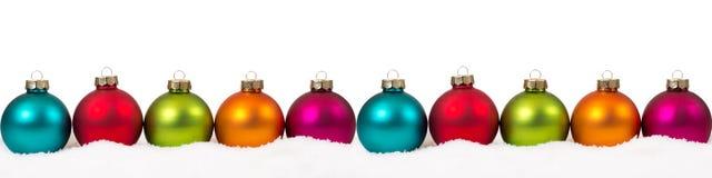 Espacio colorido de la copia del copyspace de la decoración de la bandera de las bolas de la Navidad Foto de archivo