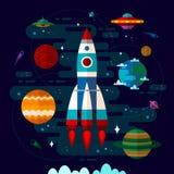 Espacio con la nave espacial, el UFO y los planetas Fotos de archivo libres de regalías