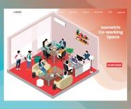 Espacio de Co-trabajo para los hombres de negocios del concepto isométrico de las ilustraciones ilustración del vector
