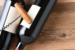 Espacio de Cork Screw Wine Bottles Copy Foto de archivo libre de regalías