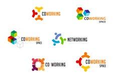 Espacio de Coworking, logotipo de la zona del establecimiento de una red y colecci?n de los iconos Dise?o del vector libre illustration