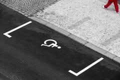 Espacio de estacionamiento perjudicado imagen de archivo libre de regalías