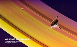 Espacio de exploración Una punta de prueba es vuelo cerca de Saturn imagen de archivo