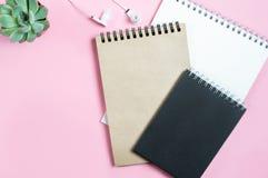 Espacio de funcionamiento: libretas, auriculares y flor suculenta en fondo rosado Minimalismo, plano-endecha, visión superior, es foto de archivo