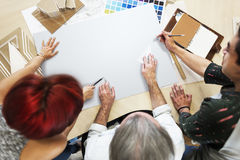 Espacio de la copia de Creative Occupation Blueprint del arquitecto del estudio del diseño Foto de archivo libre de regalías