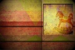 Espacio de la copia del caballo mecedora de la tarjeta de felicitación de la Navidad Imágenes de archivo libres de regalías