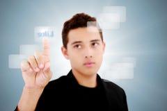 Espacio de la copia del dedo del tacto del adolescente Imagen de archivo