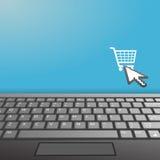 Espacio de la copia del icono de la compra del Internet del teclado de la computadora portátil Imagenes de archivo