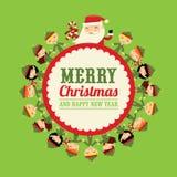 Espacio de la copia de Santa Round Label de los duendes de la Navidad ilustración del vector