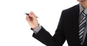 Espacio de la escritura del hombre de negocios contra el fondo blanco fotos de archivo